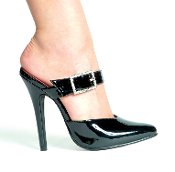 "5"" Heel Closed Toe Sandal W/Rhinestone Buckle."